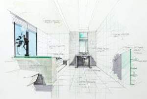 Drawing plans for a bathroom showing tiling, bathtub, sink and toilet.